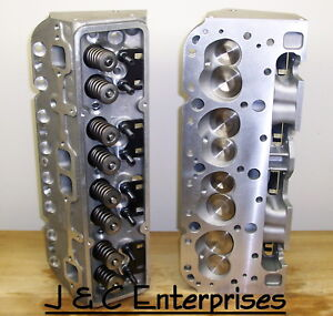 New Aluminum Performance Chevy 283 350 Cylinder Heads 600 Springs 200cc Intake