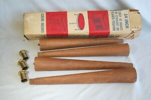 Mid Century Nos In Box Tapered Wood Furniture Replacement 4 Legs Retro Mod 14 In