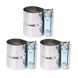 3pcs 2 Stainless Exhaust Band Clamp Step Clamps For Catback Muffler Pipe