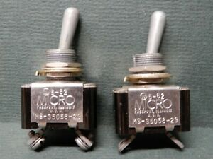 Micro Switch Toggles Ms 35085 29 Off on Momentary Missing Hardware Qty 2 Nos