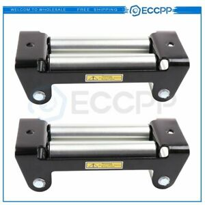 Heavy Duty Winch Roller Fairlead 10 Universal 4 Way Roller Cable Guide 2pcs