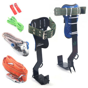 2 Gear Tree pole Climbing Spike Safety Belt Straps Carabiner Ropes Full Kit