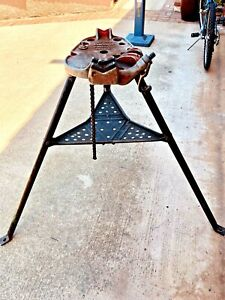 Ridgid No 450 Tristand 1 8 To 5 Portable Chain Pipe Threading Vise Tripod Stand