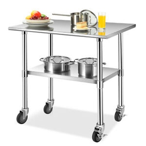 36 24 Stainless Steel Work Table Commercial grade Top W lockable Wheels Silver