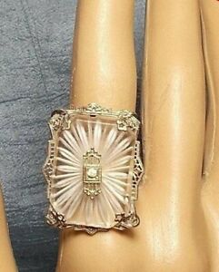 White Gold Camphor Glass Ring Antique Rhinestone Filigree Accent Marked 925 6 75