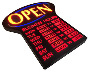 Newon 4908 Illuminated Led Open Sign W Hours Electronic Lighted Blue Red