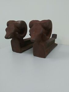 Antique Rams Head Olympic Log Master Andirons Solid Iron Rail Tracks Set Of 2
