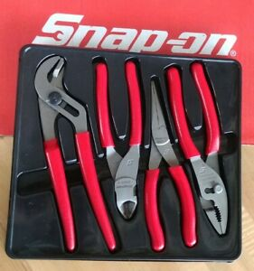 Snap On Tools 4 Pc Slip Joint Needle Nose Side Cutter Pliers Set Pl400b Nice