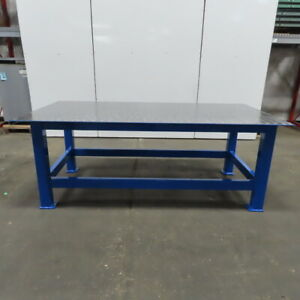 3 8 Thick Top Steel Fabrication Welding Layout Table Work Bench 96 x48 x36 1 2