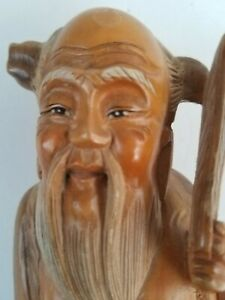 Antique Beautiful Wood Carved Figurine Chinese Japanese Asian From Old Estate