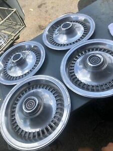 Set 4 Vintage Ford Thunderbird Hubcaps Wheel Covers Collectible Classic Display