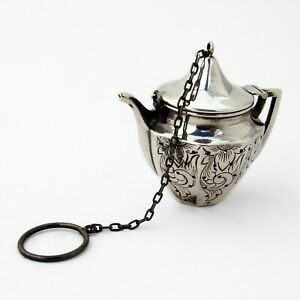 Engraved Teapot Form Tea Ball Sterling Silver