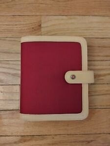 Franklin Covey Pocket Tan red Canvas Snap Binder Very Good Condition