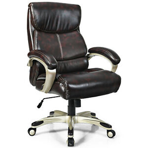 Costway Swivel Leather Office Chair 400lbs Big Tall High Back Adjustable