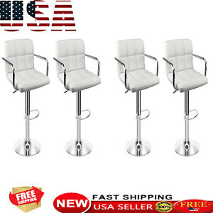 4pcs Bar Stools Pu Leather Counter Adjustable Height Swivel Dining Chairs Seat