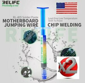Twopcs Relife Solder Paste Rl 405 138c Low Temp Lead Free