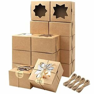moretoes 50pcs 4x4x2 5 Inches Brown Bakery Boxes With Window Cookie Boxes Kraft
