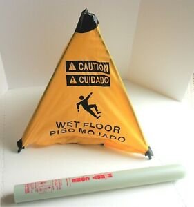 New Handy Cone Caution Wet Floor Sign 18 Tall With Wall Mountable Holder
