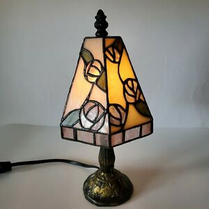 Antique Stained Leaded Glass Lamp Art Shade Slag Glass 12 Inch Tall