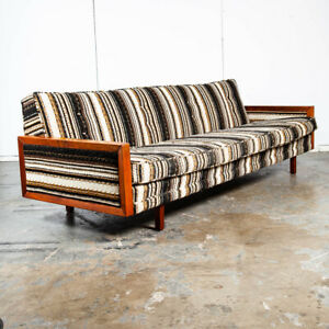 Mid Century Modern Daybed Sofa Couch Bed Cream Solid Walnut Restored 3 Seater Nm