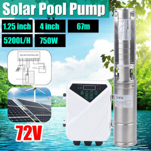 4 Dc Deep Well Solar Water Pump 72v 750w Submersible Mppt Controller Kit Bore