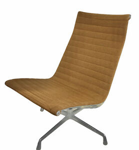 1979 Vintage Eames Herman Miller Aluminum Fabric Group Lounge Chair Armless