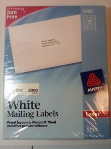 Avery White Mailing Labels 5160 3000 Labels Nip