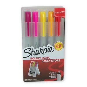 Sharpie 5 Ultra Fine Permanent Markers With Case Pink Yellow Orange Red