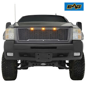 Eag Fit For 07 10 Chevy Silverado 3500 Heavy Duty Grille Packaged Led Upper