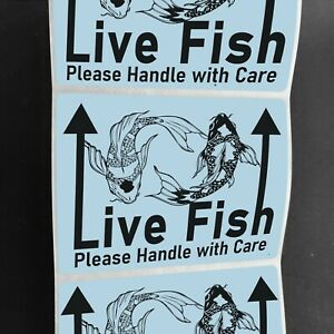 50 Large 4 X 3 Live Fish Handle With Care Shipping Mailing Labels Stickers