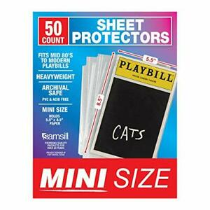 50 Pack Playbill Mini Clear Heavyweight Sheet Protectors 5 5 X 8 5 50 Count