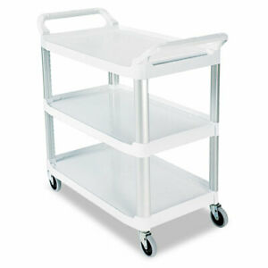 Open Sided Utility Cart Three shelf 40 63w X 20d X 37 81h Off white Total