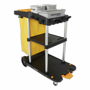 Click connect Janitorial Cart 3 Shelves 43 2 X 22 X 46 3 Black gray