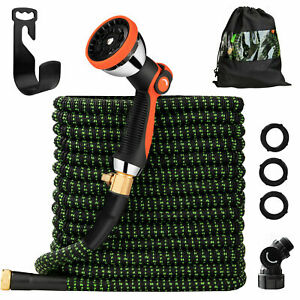 Expandable Flexible Garden Water Hose Pipe Latex Withspray Nozzle Gun 25 100ft