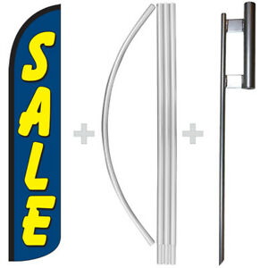 Sale Blue yellow 15 Tall Windless Swooper Feather Banner Flag Pole Kit