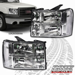 Pair Headlights Headlamps Fit For 07 13 Gmc Sierra 1500 2500hd 3500hd Clear Lens Fits More Than One Vehicle