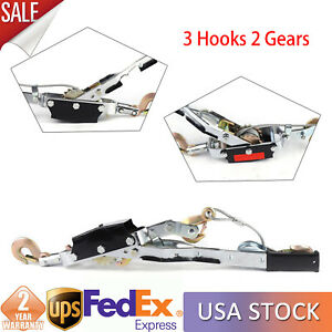 5 Ton Hand Come A Long Ratchet Winch Hoist Puller Cable Puller Tool W 3 Hooks Us