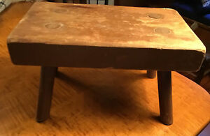 Antique Wooden Country Farmhouse Pegged Leg Stool 12 Plank Seat Sturdy 7 Tall