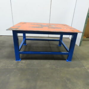 3 8 Thick Top Steel Fabrication Welding Layout Table Work Bench 72 lx56 wx36 h