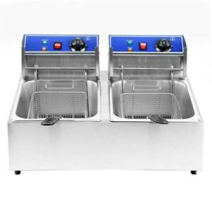 Commercial 5000w Electric Deep Fryer Dual Tank Stainless Steel 2 Fry Basket