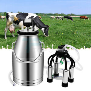 25l Milking Machine For Farm Cows Electric Stainless Steel Bucket Cow Milker