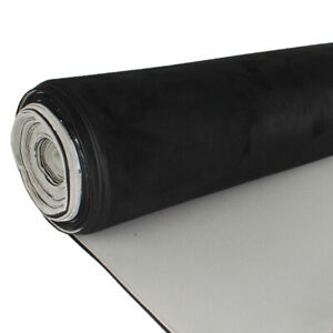Black Suede Headliner Fabric Automotive Roof Replace Foam Backed For Chevrolet