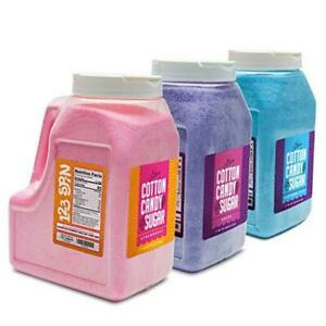 Cotton Candy Floss Sugar 6lbs 96oz Jars 3 Pack Strawberry Package Of 3