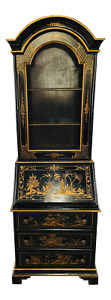 Chinoiserie Style Carved Black Lacquer Secretary Desk Bookcase Cabinet