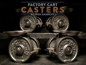 Antique Industrial Casters Vtg Factory Cart Coffee Table Cast Iron Metal Wheel