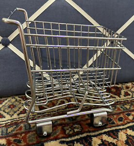 Mini Metal Wire Shopping Cart Grocery Mall Sample Toy Basket