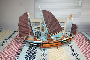 Vintage Army U S A Vietnam Wood Sailboat Model With Sailors