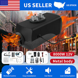 8kw 12v Air Diesel Heater Carbon Fiber Shell Lcd Control For Boat Truck Trailer