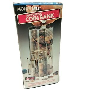 Vintage Money Mill Motorized Coin Bank Sorts Stacks Counts Coins New