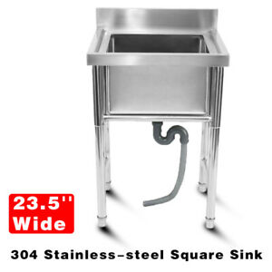304 Stainless Steel Utility Sink For Commercial Kitchen Square Sink 23 5